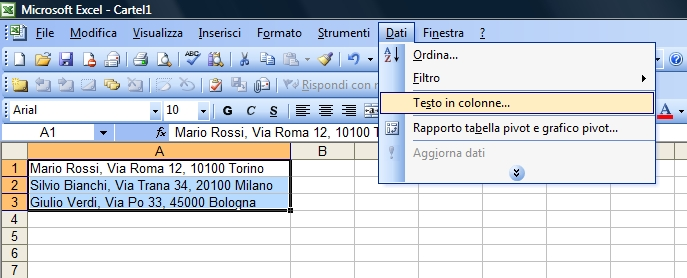 3 excel dividere il testo in colonne e learning - Testo la finestra ...